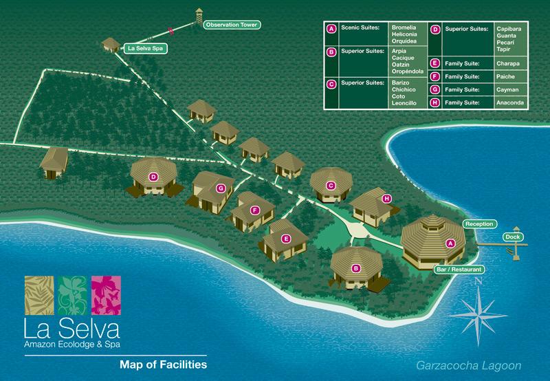 la selva amazon lodge map of facilities