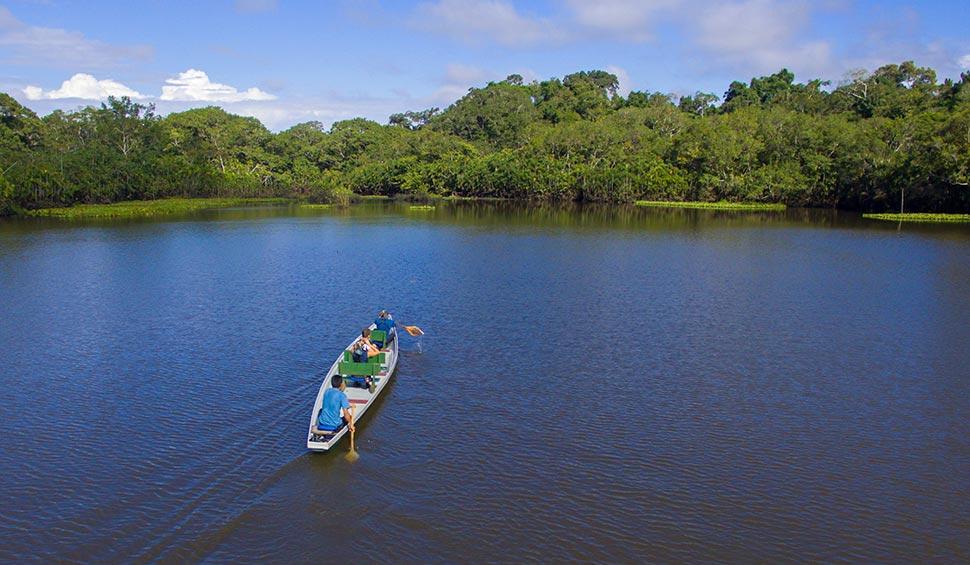 paddle boat with guests at garzacocha lake