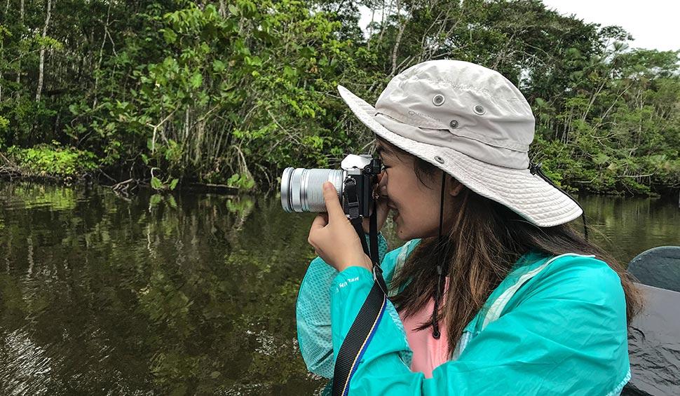 woman tourist in the amazon jungle