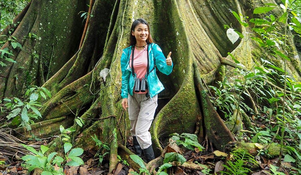 woman tourist next to a giant tree