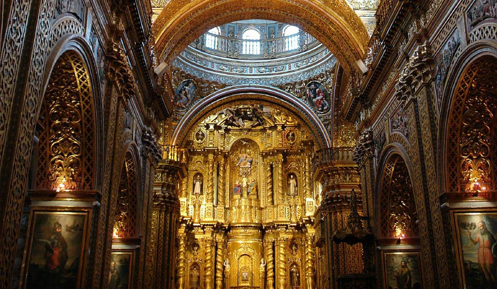 inside a colonial church of quito