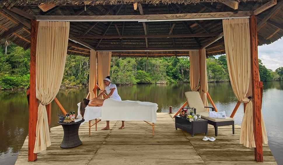 massage next to garzacocha lake